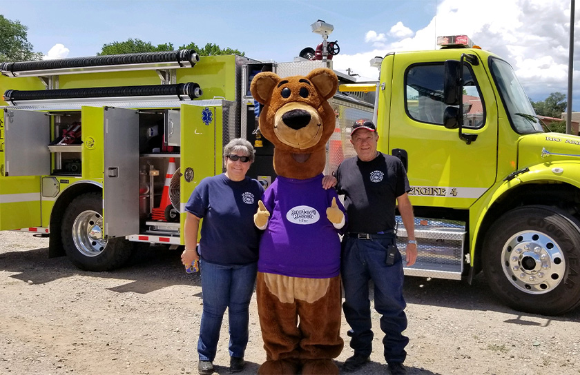 Baxter Bear With First Responders At Event In Rio Arriba