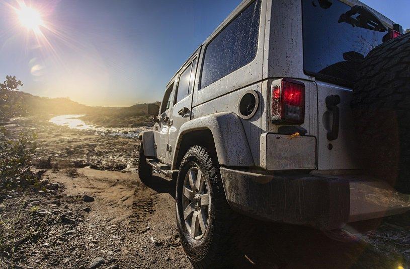 SUV near lake in desert