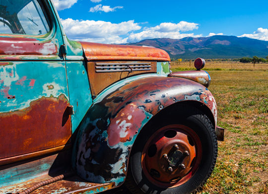Old truck Looking at Taos New Mexico