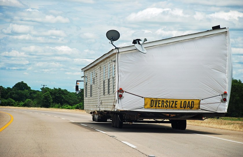 Mobile Home Being Moved