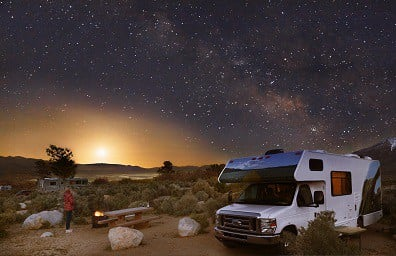 RV and camp site at night