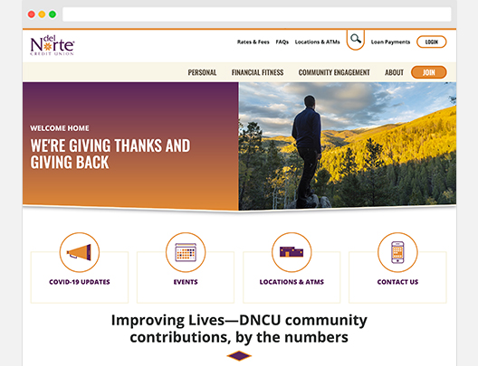Screenshot of Del Norte Credit Union's Member Homepage