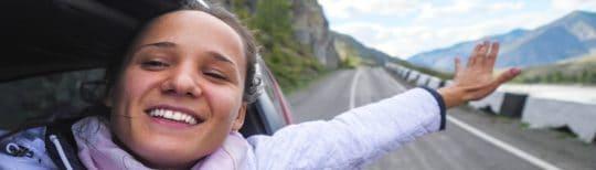 Woman drives through New Mexico canyon