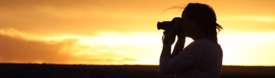 Photographer at sunset in New Mexico