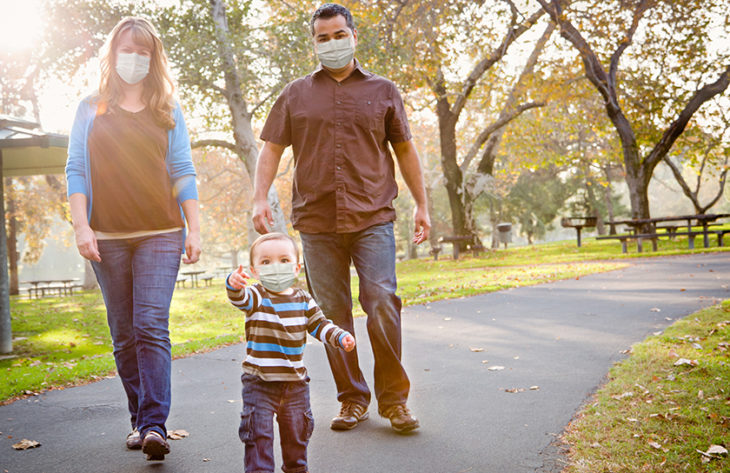 family walking with face masks