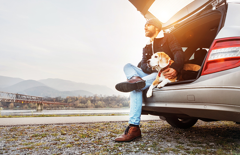 man and his dog sitting in the trunk of car