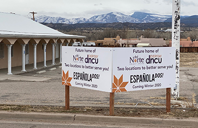 new branch sign for espanola dos second location in rio arriba